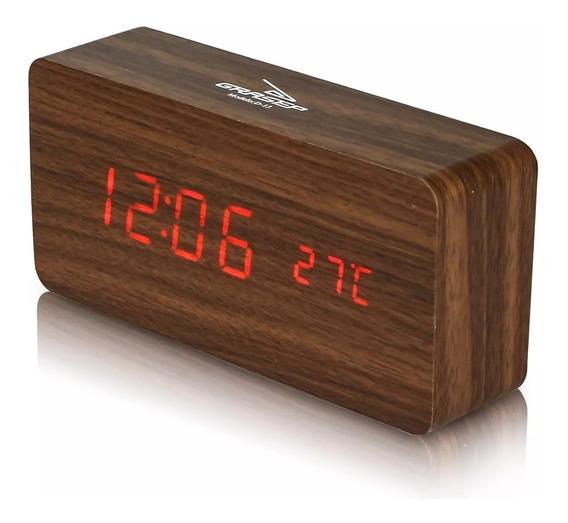 Relógio Digital Madeira Despertador Data Temperatura Alarme