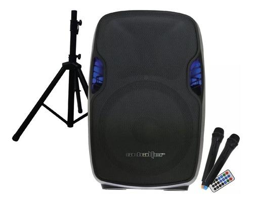 Bafle Bocina Amplificado 15 Bluetooth 2 Mic Inalambricos Aw
