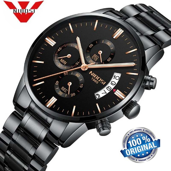 Relógio Masculino Nibosi 2309 Preto Luxoso Original