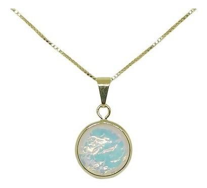 Corrente Pingente Pedra Da Lua Folheado Ouro 18k C Garantia