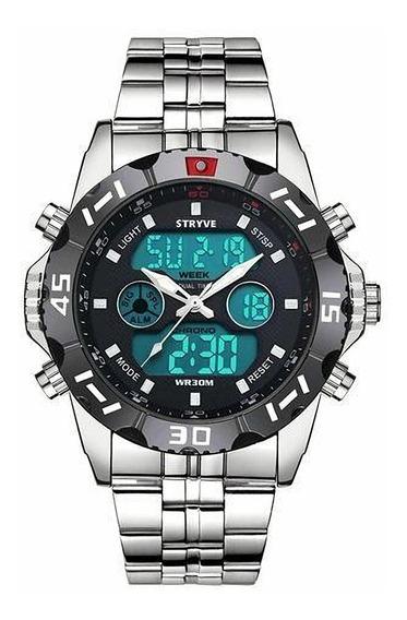 Relógio Masculino Stryve Digital Pulseira Aço Inox Promoção