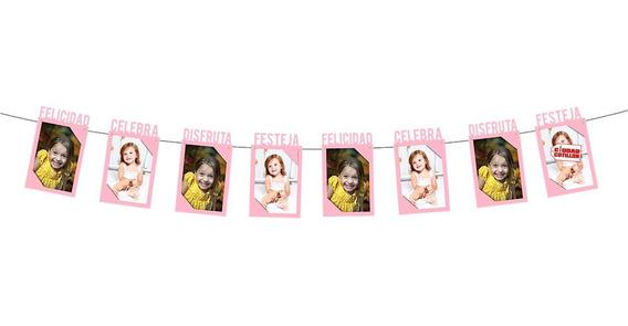 Banderín Guirnalda Portarretrato Rosa Foto - Ciudad Cotillón