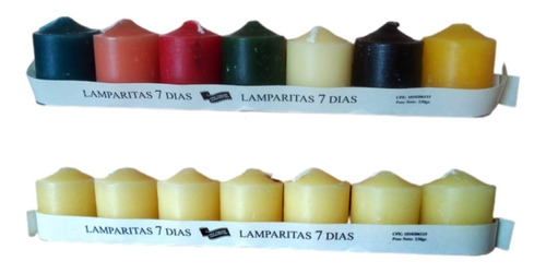 Velas Semanarios, Paquete De 7 Velas C/u, 4.5 Cms X 3.5cms
