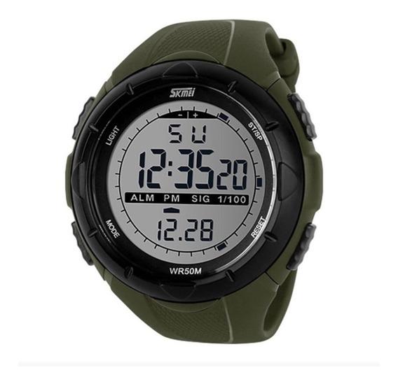 Relógio Masculino Skmei 1025 Verde Cronômetro Alarme 5atm