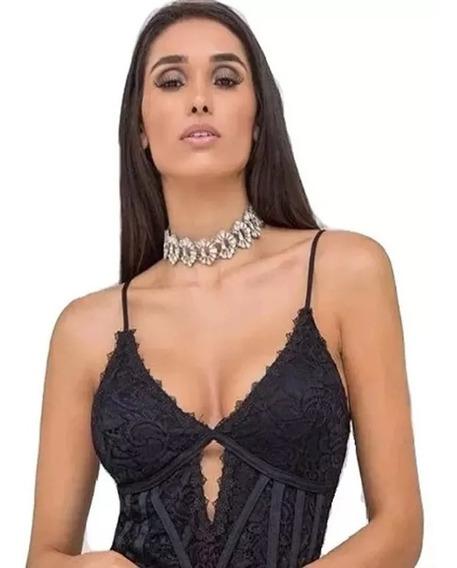 Body Renda Rendado Espartilho Alça Modelador Marina Ruy Moda