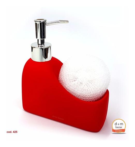Dispenser Detergente Jabón Liquido Cerámica Esponja Rojo