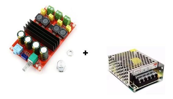 Kit Placa Amplificador 2.0 100+100 200w Rms + Fonte 24v 5a