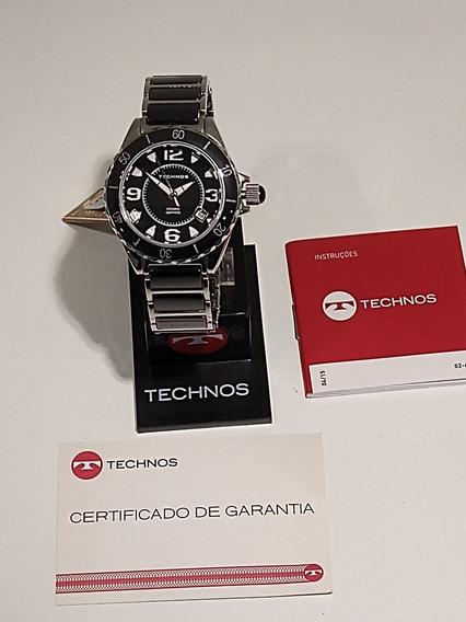 Relógio Technos Aço Cerâmica Vidro Sapphire 2115bu/1p