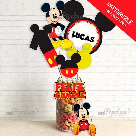 Centro De Mesa Mickey Mouse Imprimible. Deco Tortas Pinchos
