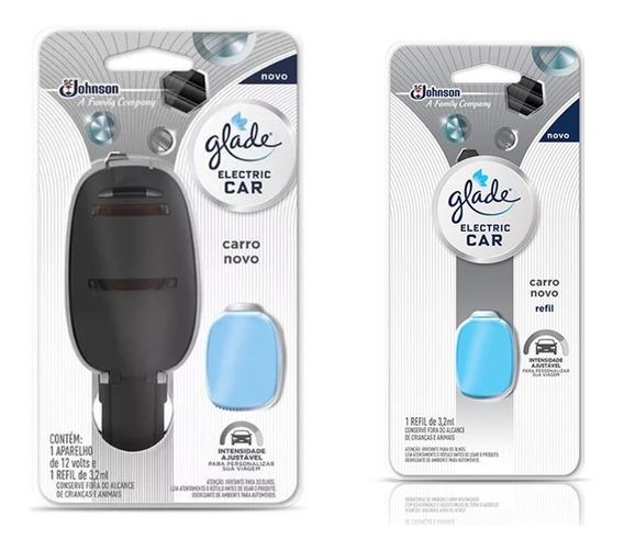 1 Aparelho Glade Eletric Car Carro Novo + 1 Refil Carro Novo