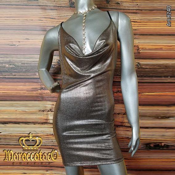 Vestido Corto Fiesta Noche Metalizado Importado Art 8240