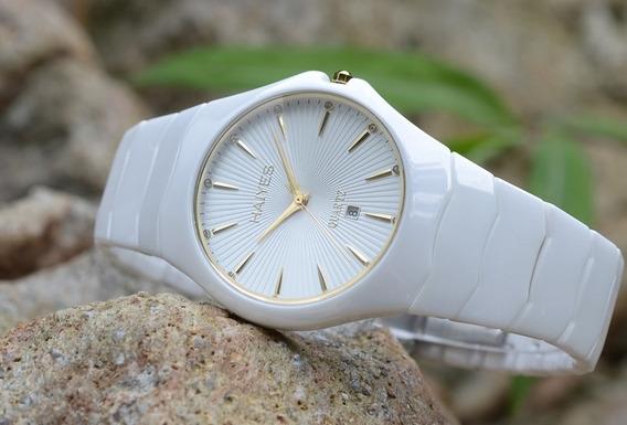 Relógio Cerâmico Branco Moda Auto Data Analógico Relógio