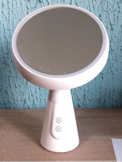 Espelho De Mesa Luz Led Maquiagem Sobrancelha Barbear Decora