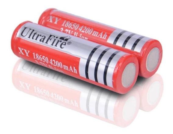 3 Baterias Ultrafire + Carregador Mod 18650 5800 Mah 3,7v
