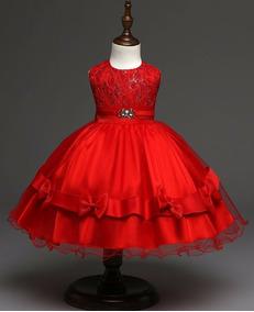 Vestido Infantil D Festa Vermelho Rosa Pink 1 2 3 4 6 Anos