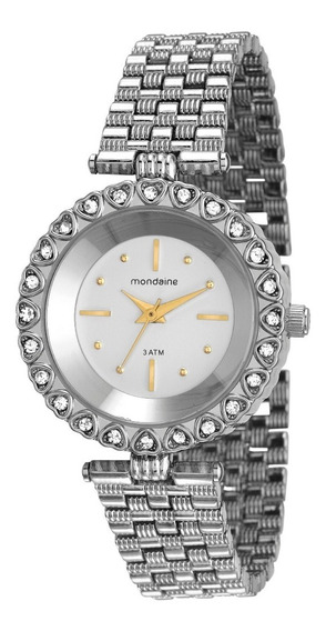 Relógio Mondaine Feminino Com Pedras Prata 76627l0mvnm1