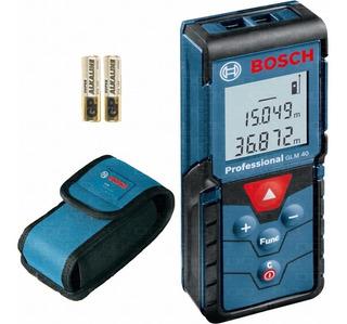 Telemetro Medidor Laser Cinta Metrica Digital Bosch Glm 40 Mide Distancia 40mts Superficie Volumen + Estuche