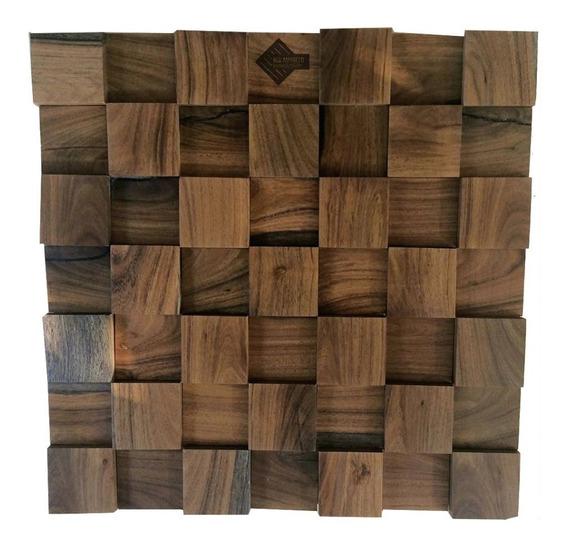 Mosaico Recubrimiento De Madera Natural Muro 3d 02