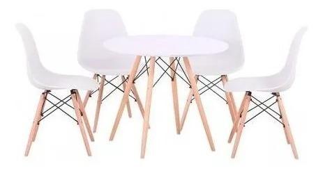 Jogo Mesa Redonda Eames Eiffel Wood 80cm Com 4 Cadeiras