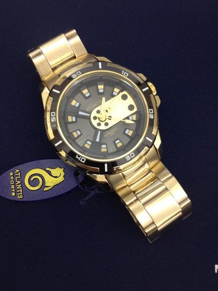 Relógio Dourado Atlantes Masculino Mod.a3405 Sér.luxo