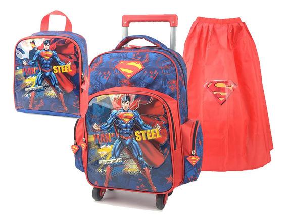 Kit Mochila E Lancheira Menino Superman Super Homem Rodinha