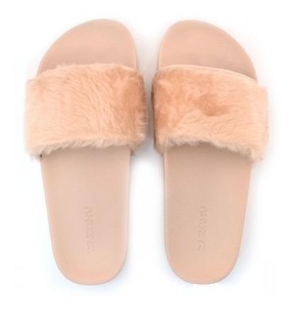 Sandália Slide Feminina Zaxy Snap Fur Gaspea 17551 Pelos