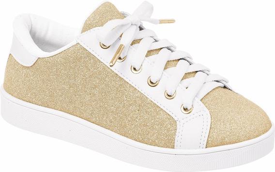 Tenis Pampili Dourado Glitter Infantil 417001