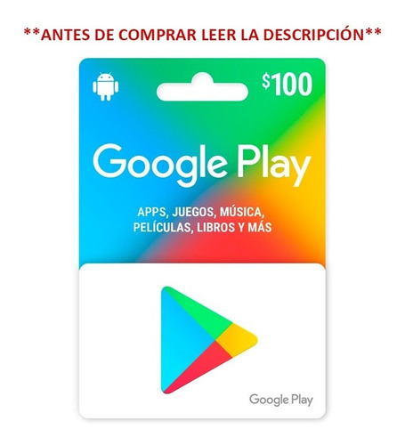 Imagen 1 de 4 de Google Play $100 Pesos, Entrega 9am-11pm
