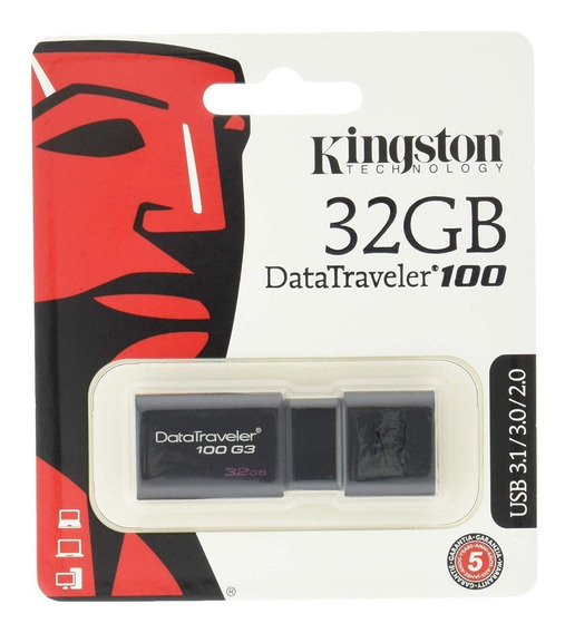Pen Drive 32gb Kingston Dt100g3 Usb 3.0 Original Lacrado