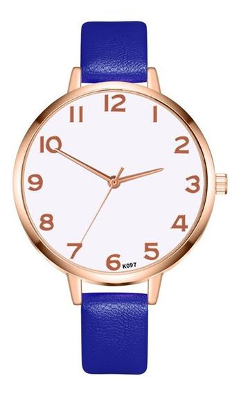 K097-mc Casual Senhoras Relógio De Quartzo Pulseira De Couro