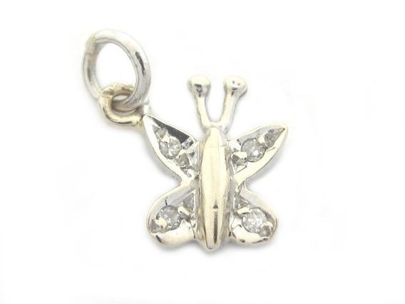 Joianete E9019-10094 Pingente Borboleta Ouro Branco Diamante