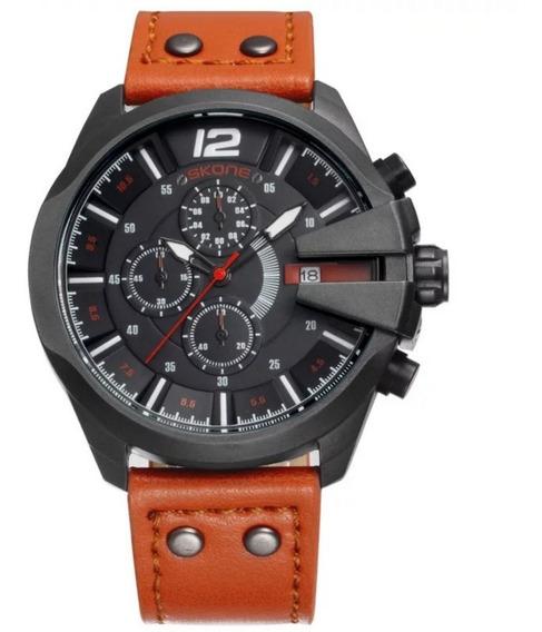 Relógio Masculino Pulseira Couro Aço Inox Calendário Laranja