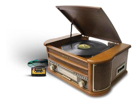 Vitrola Toca Discos Bt Cd Usb Rádio K7 Grava Obavintage Plus