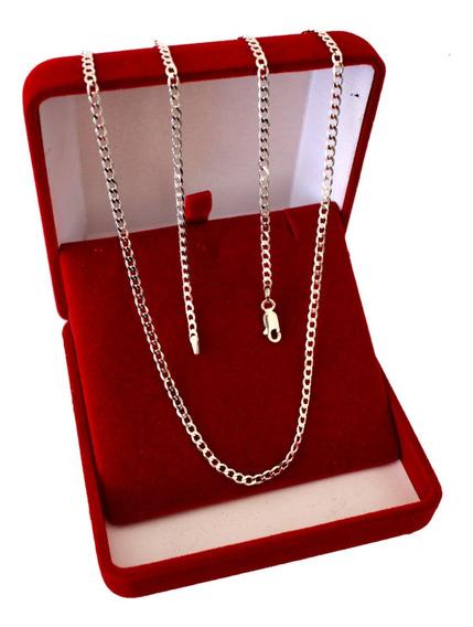 Corrente Prata 925 Escama De Peixe Fina Grumet Legitima 70cm