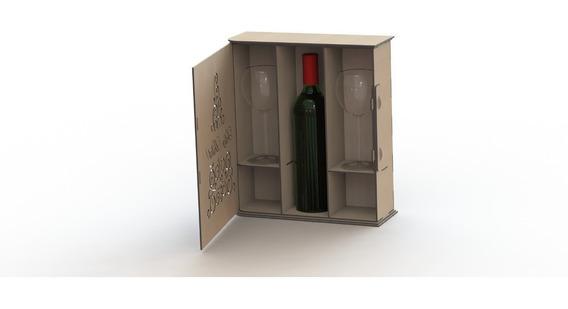 Vector Corte Laser Cnc Caja Para Vinos Y Copas Cdr