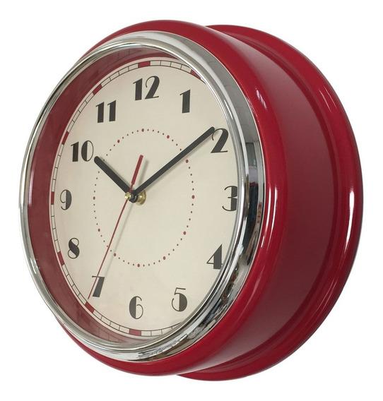 Reloj De Pared Retro Vintage Rojo - Rex