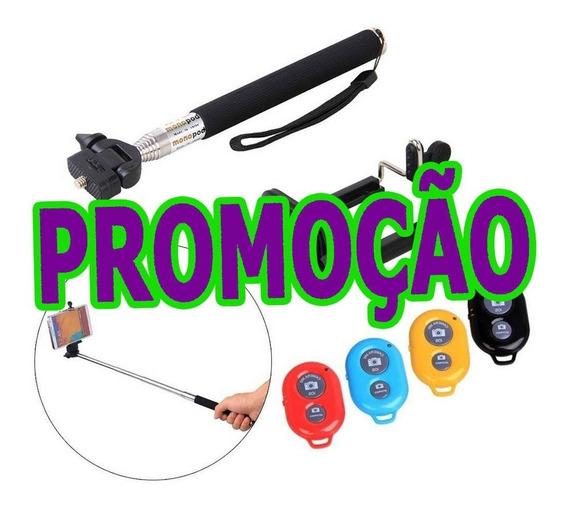 Pau De Selfie Monopod Kit Bastão+controle Bluetooth Celular