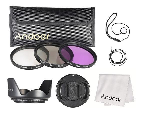Andoer Kit De Filtro De 52mm (fld + Uv + Cpl) + Nylon Carreg
