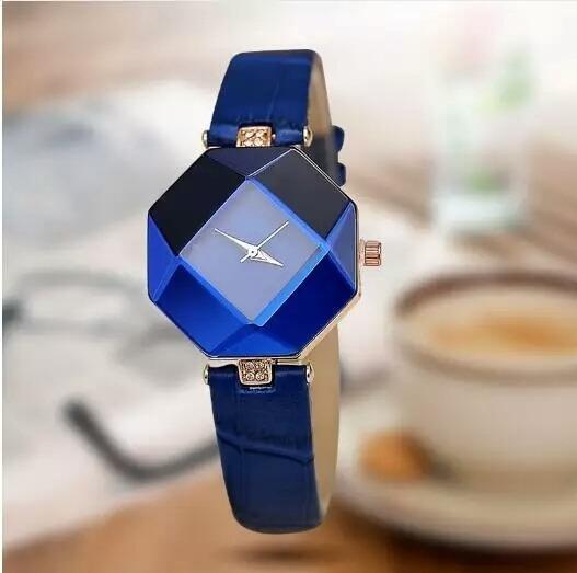 Relógio Feminino Design Cristal Pulseira De Couro+caixa