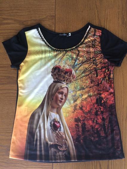Tshirt Feminina Moda Católica Nossa Senhora De Fatíma