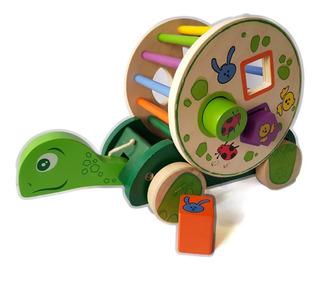 Juego Tortuga Arrastre Encajar Madera Didactico Montessori