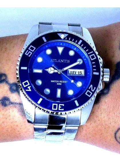 Relógio Submariner Prata Aço Inox Atlântis Original Top 138