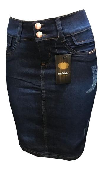 Promoção Kit 3 Saia Jeans Secretária Evangelica Com Lycra