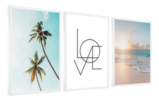 Quadro Decorativo Love Coqueiro Mar Sol Decoração Sala