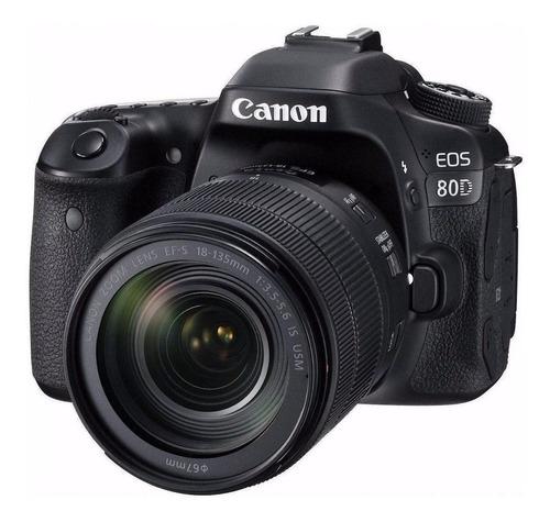 Imagen 1 de 4 de Canon EOS Kit 80D + lente 18-135mm f/3.5-5.6 IS USM DSLR color  negro