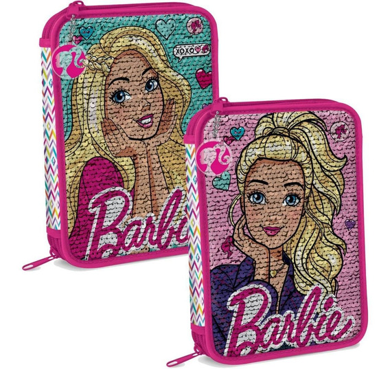 Cartuchera 2 Pisos Barbie Lentejuelas Reversibles Mundomania
