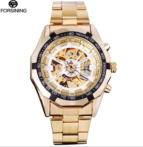 Relógio Skeleton Inox Automático Dourado Original Novo