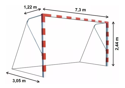 Imagen 1 de 10 de 1 Red Arco Futbol 11 Profesional Trapezoidal 10cm Cuerda 3mm