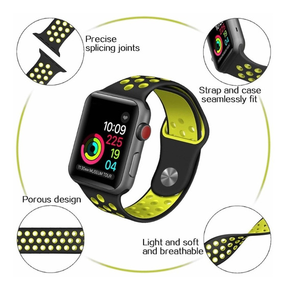 Apple Watch 42mm Correa Silicon Deportiva Negro Verde Iwatch