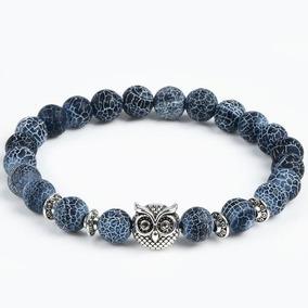 Pulseira Masculina Coruja Prata E Azul
